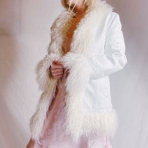 Real Leather White Penny Lane Vintage coat